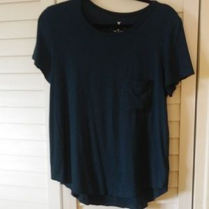 American Eagle Teal Striped Tee